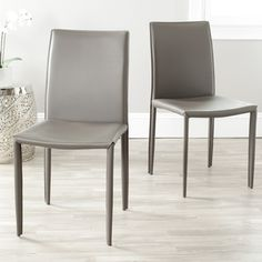 @Overstock - Dress up any dining room with these simple grey dining room chairs. This set of two dining chairs is covered in a sturdy and easy-to-clean bonded leather.http://www.overstock.com/Home-Garden/Jazzy-Bonded-Leather-Grey-Side-Chair-Set-of-2/6585119/product.html?CID=214117 $159.99