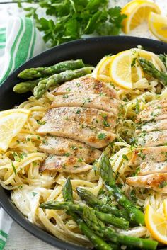 This recipe forlemon asparagus pastacombines tender asparagus and grilled chicken with pasta in a lemon cream sauce.