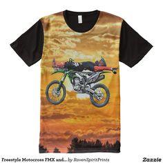 Freestyle Motocross FMX and Sunset Dirt-Biker All-Over Print T-shirt