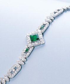 An art deco emerald and diamond bracelet, by Cartier, circa 1920.