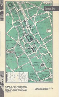 Damascus Syria Map City Map Street Map 1950s 2 by VintageButtercup, $6.00