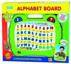 megcos Alphabet Board by megcos. $26.58. With lights and Sounds. The alphabet board encourages learning with different activities that challenge children to find letters and numbers. Plays 40 songs and numbers, letters, letter sounds, shape name sounds. From the Manufacturer                Megcos Toy Company Ltd, educational products item 1281 - Musical Alphabet Board. See item description below for further details.                                    Product Description   ...