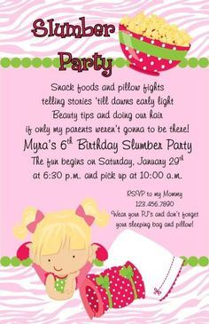 Slumber Party Invitation I have this artwork Party ideas