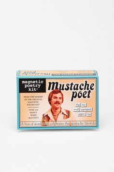"haha...a mustache poetry kit. ""dig my well equipped upper lip"" (urban outfitters)"