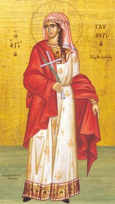 The Holy Martyr Glyceria - This Martyr contested in 141 in Trajanopolis of Thrace, during the reign of the Emperor Antoninus Pius. Byzantine Icons, Byzantine Art, Religious Icons, Religious Art, Church Icon, Religious Paintings, Catholic Saints, Orthodox Icons, Selling Art