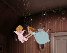 Screencap Gallery for Peter Pan Bluray, Disney Classics). The three children of the Darling family receive a visit from Peter Pan, who takes Walt Disney, Disney Love, Disney Magic, Disney Pixar, Disney Characters, Peter Pan And Tinkerbell, Peter Pan Disney, Cute Disney Wallpaper, Cartoon Wallpaper