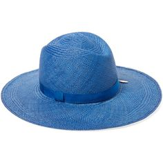 HOUSE OF LAFAYETTE Women's Almond Panama Hat - Blue ($169) ❤ liked on Polyvore featuring accessories, hats, blue, blue hat, panama hat, brimmed hat, wide brim panama hat and wide brim hat
