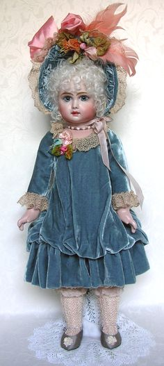 """One of my early Tete Jumeaux, dressed in silk and velvet"" - Emily Hart Victorian Dolls, Antique Dolls, Vintage Dolls, New Dolls, Barbie Dolls, Dolls Dolls, China Dolls, Doll Costume, Bisque Doll"