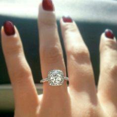 Cushion cut Diamond halo moissanite engagement ring. by MichaelPatrickHogan