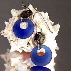 Sterling Silver Royal Blue Sea Glass Earrings by KDTwistedElements
