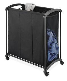 Black 3-Section Plastic Laundry basket