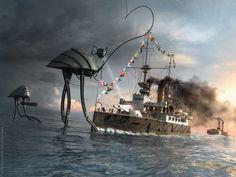 War of the Worlds Thunderchild by Robert Czarny ( ~TroC--czarnyrobert on deviantART ) troc--czarnyrobert.deviantart.com/