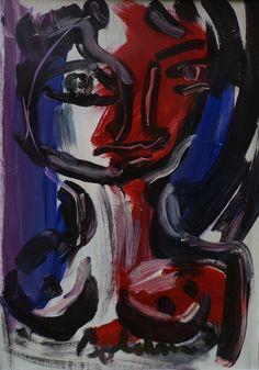 Gustavo Boldrin. Donna rossa e blu, 1972, olio su tela.