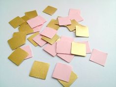 Gold Pink Paper Confetti Wedding Confetti Baby girl shower confetti Party Decorations Birthday party Square confetti geometric sprinkles