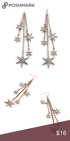 "Falling Stars Earrings  Beautiful Falling Stars Rhinestone Earrings  Length: 3.5""  Material: Gold-tone Base Metal, Rhinestones  Nickel & Lead Free  NWT Jewelry Earrings"