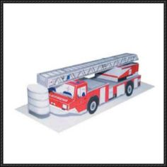 Simple Tower Ladder Fire Truck Free Vehicle Paper Model Download - http://www.papercraftsquare.com/simple-tower-ladder-fire-truck-free-vehicle-paper-model-download.html