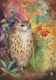 Owl art by Jemima Jameson Art And Illustration, Illustrations, Owl Art, Bird Art, Owl Quilts, Whimsical Owl, Street Art, Beautiful Owl, Owl Crafts