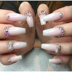 Crystal White Square Tip Acrylic Nails w/ Rhinestones by terra Rhinestone Nails, Bling Nails, Hot Nails, Hair And Nails, Gorgeous Nails, Pretty Nails, Nagel Bling, Diamond Nails, Fancy Nails