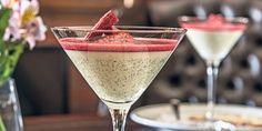Vanilla bean pannacotta with strawberry soup.