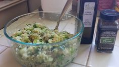 Quinoa, chopped steamed brussel sprouts, lemon olive oil, thyme, ground cayenne, salt & pepper.