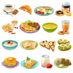 Buy Breakfast Brunch Menu Food Icons Set by macrovector on GraphicRiver. Breakfast brunch healthy start day options food realistic icons collection with coffee and fried eggs isolated vector. Breakfast And Brunch, Brunch Menu, Food Sketch, Fruit Sketch, Drinks Logo, Bakery Logo, Food Icons, Food Drawing, Cute Food