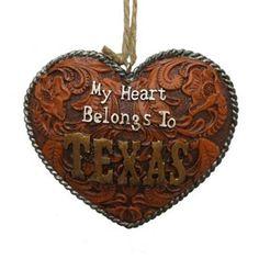 St. Nicholas Square My Heart Belongs To Texas Christmas Ornament