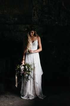 Moody bridal portrait in Juneau Alaska, floral Bloomsbury Blooms, Wedding Planner Alaska Destination Weddings Joel, Allegretto Photography