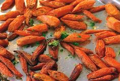 Ina Garten's roasted carrots from FoodNetwork.com: 12 cleaned peeled carrots, coat in a very good olive oil, salt pepper, and sprinkle with dill when finished roasting. so easy!!!