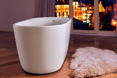 Space saver for your small bathroom. Check this out.  Aquatica Lullaby-Wht (PureScape 602M) Freestanding Solid Stone Surface Bathtub - Bathtub - Gorgeous Tub