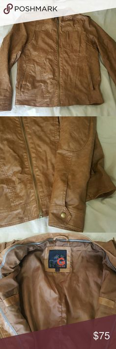 %clearance% MENS G by Guess Tan Leather Jacket Brand New Without Tags, Never Worn G BY GUESS Mens LARGE leather jacket. Tan crinkle style. Pockets on the outside and inner pockets as well. Shoulder patches add flair. Awesome jacket for the cold! G by Guess Jackets & Coats Blazers
