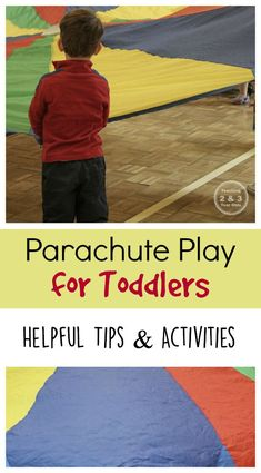 Parachute play for toddlers - helpful tips and activities for large motor play! Teaching 2 and 3 Year Olds