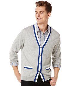 Perry Ellis Sweater, Contrast Trim Cardigan