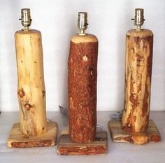 Log table lamps.