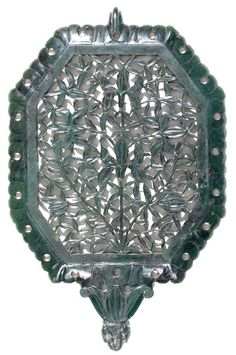 A 19th century Lucknow Indian jade mirror case.