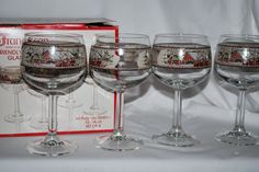 """Set (Lot) 4 Franciscan Friendly Village. 12 3/4"""" oz All Purpose Goblet Glasses. Comes with original box - torn and dirty. If we miss something, we did not do it on purpose, we will work to make it right.   eBay!"""