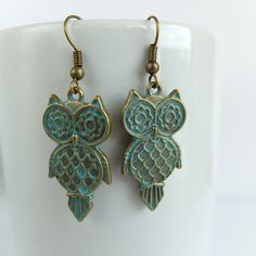 Owl earringsantique brass earringsturquoise by LinhaBinha on Etsy