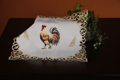 Classic Rooster Square Table Topper