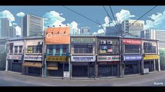 this months ago, base on shop house which are common in Southeast Asia. The 7 foreground buildings are model and render with Background cloud and distance building are Blender 3d, House 3d Model, Anime City, Color Script, Mood Colors, City Background, Environment Concept, Process Art, Back In The Day