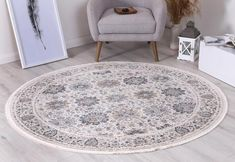 Istanbul Modern Aylin Cream Blue Round Rug  Pile Height: 5mm Material: 65% Polypropylene,35% Polyester Rug Type: Indoor Easy to clean Style(s): Modern & Contemporary Pattern(s):Vintage, Modern