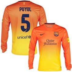 Barcelona #5 Carles Puyol Long Sleeves Away Soccer Club Jersey! Only $22.50USD