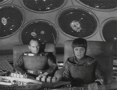 "Helge Legrelle (Ursula Lillig) in a shuttle in the Raumpatroille Orion Episode ""Hüter des Gesetzes"" in 1966"