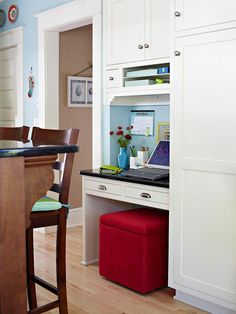 A small desk tucked into a kitchen is suited for many tasks, such as doing homework or jotting down a grocery list. Incorporate a few drawers and cubbies to maximize the space's storage capacity.