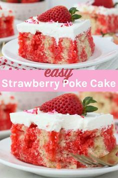 This easy Strawberry Jello Poke Cake is a homemade vanilla cake soaked in strawberry Jello and topped with whipped cream. Poke cakes are perfect for any occasion and this can easily be made using a cake mix too!#pokecake #easypokecake #jellopokecake #strawberryjellopokecakerecipe Strawberry Poke Cakes, Strawberry Jello, Strawberry Desserts, Poke Cake Recipes, Cupcake Recipes, Cupcake Cakes, Cupcakes, Frosting Recipes, Easy No Bake Desserts