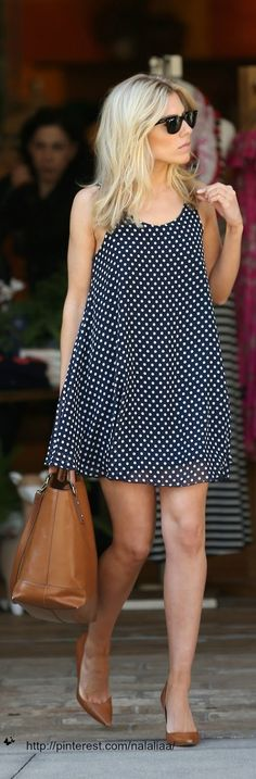 like the matching bag to shoes, but the polka dot dress is darling! perfect for a hot summer day.