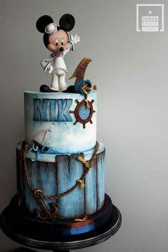 Mickey sailor cake - cake by Lorita Mickey Sailor Cake - Kuchen von Lorita Mickey And Minnie Cake, Bolo Mickey, Mickey Cakes, Disney Mickey, Minnie Mouse, Fondant Cakes, Cupcake Cakes, Sailor Cake, Baby First Birthday Cake