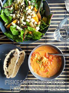 Nem og velsmagende fiskesuppe med hvid fisk og sødme fra rød peberfrugt og tomat og styrke fra chili og paprika. Low fodmap venlig suppe, der mætter dejligt