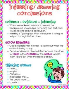 This is a three week inferring/drawing conclusions unit that covers the guidelines of what inferring is in reading. This 29 page unit includes minilessons, materials, posters, anchor charts, and graphic organizers. These inferring graphic organizers can be used with many texts. Students will infer unknown words, inferring situations, poems, comics, fiction and nonfiction text. $