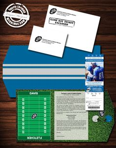 Detroit Lions inspired Football Themed Wedding Invitation  #footballwedding #stwdotcom