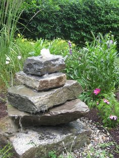 stacked stone garden fountian