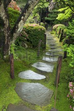 """""""wet stone pathway in Japanese Zen garden"""" - by summer"""